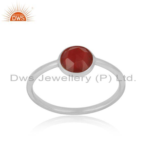 Handmade Dainty Sterling Silver Red Onyx Solitaire Ring