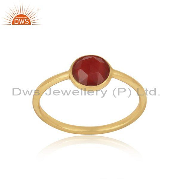 Handmade Dainty Gold on Silver Red Onyx Solitaire Ring