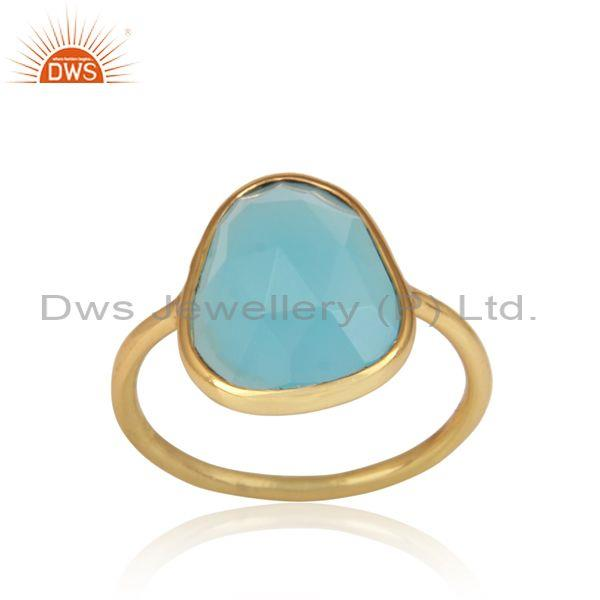 Handmade Aqua Chalcedony Set Gold On Silver Statement Ring