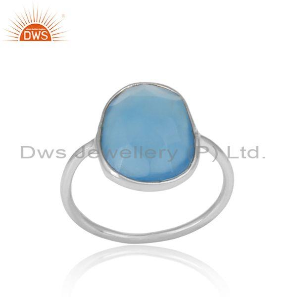 Blue Chalcedony Set Fine 925 Silver Casual Statement Ring