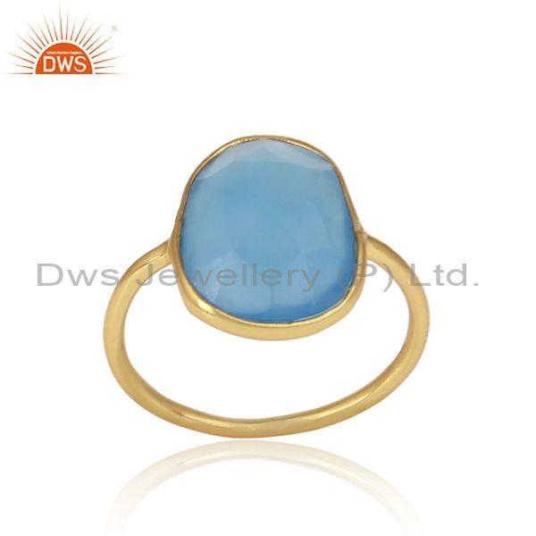 Blue Chalcedony Set Gold On 925 Silver Casual Statement Ring