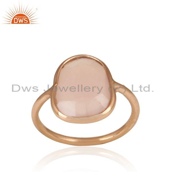 Rose Chalcedony Set Rose On 925 Silver Casual Statement Ring