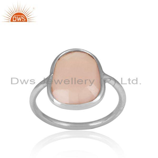 Rose Chalcedony Set Fine 925 Silver Casual Statement Ring