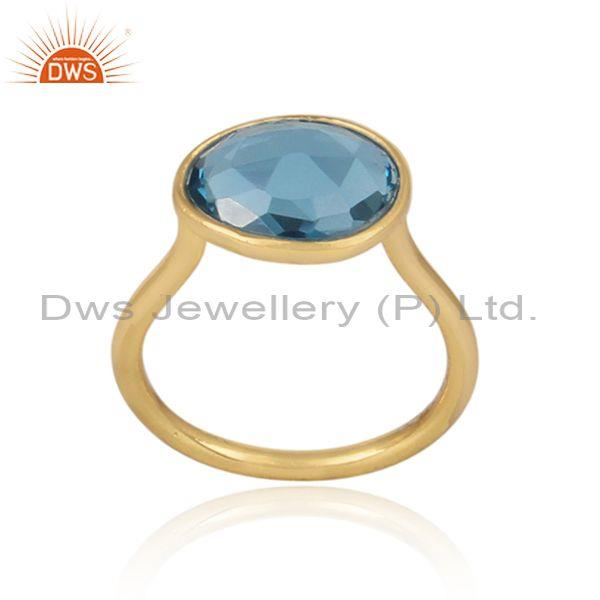 Classic blue topaz set gold on sterling silver casual ring