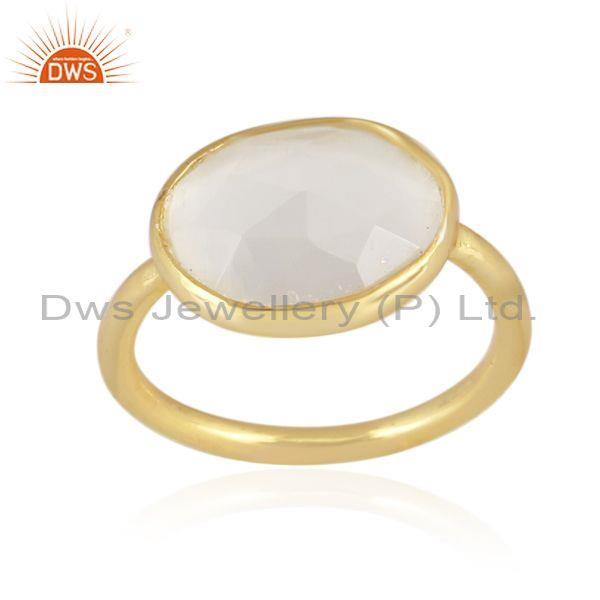 White moon stone set gold on 925 sterling silver fancy ring