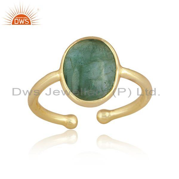 Oval emerald set gold on sterling 925 silver handmade ring