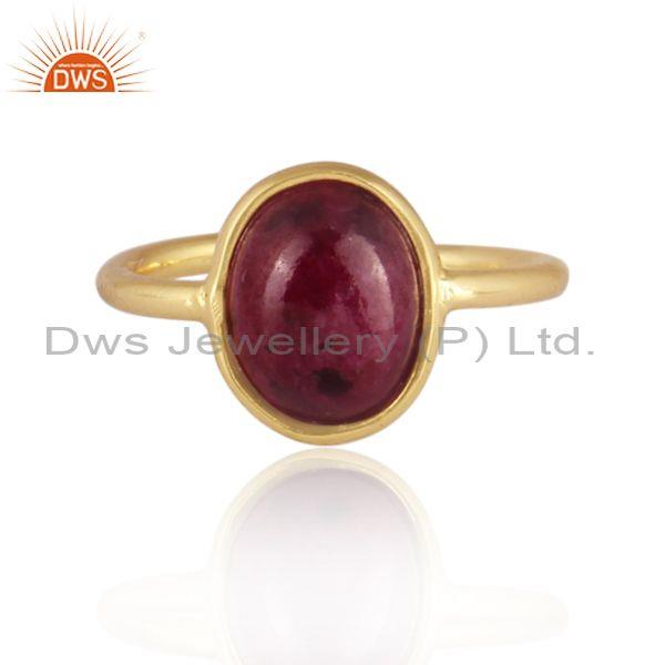 Oval cut ruby set gold on sterling 925 silver handmade ring