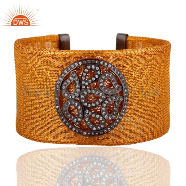 Indian 925 Sterling SIlver 18k Gold Plated Mesh Cuff Bracelets With White Zircon
