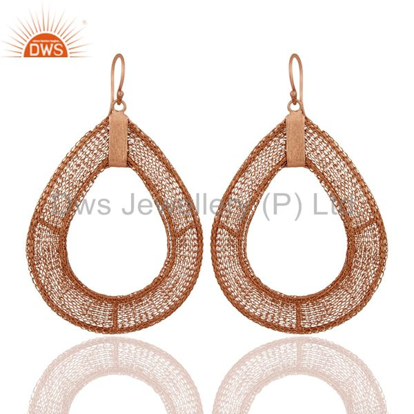 18K Rose Gold Plated 925 Sterling Silver Wire Weave Dangle Earring