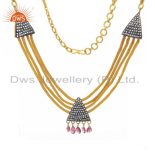 22k gold plated sterling silver tourmaline and cz designer fashion necklace