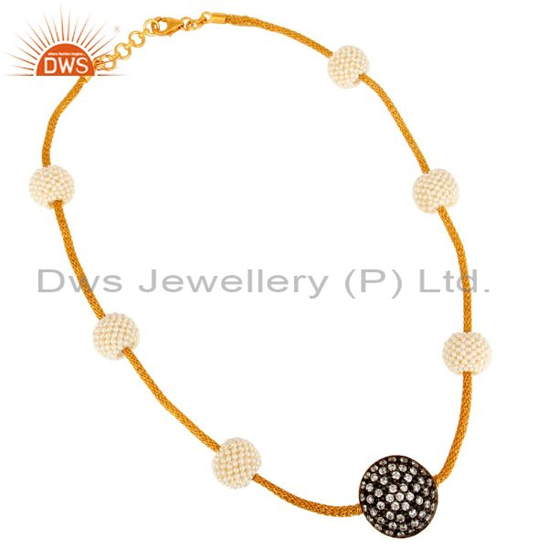 18K Yellow Gold Plated Sterling Silver Mesh Cable Chain Necklace With CZ