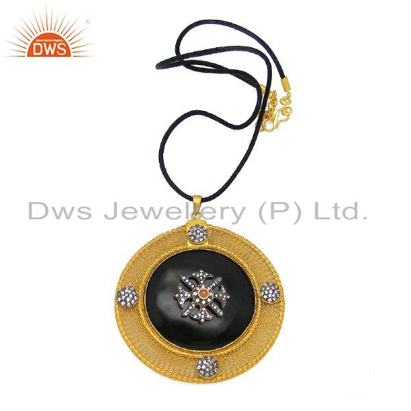 22K Gold Plated Sterling Silver Tourmaline And CZ Designer Pendant With Chain
