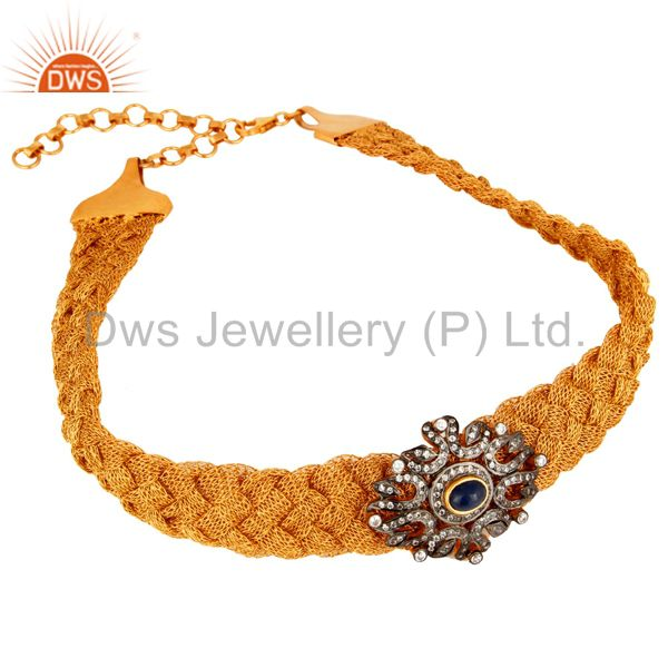 Handmade Sterling Silver Wire Wrapped Designer Sapphire Gemstone & CZ Necklace