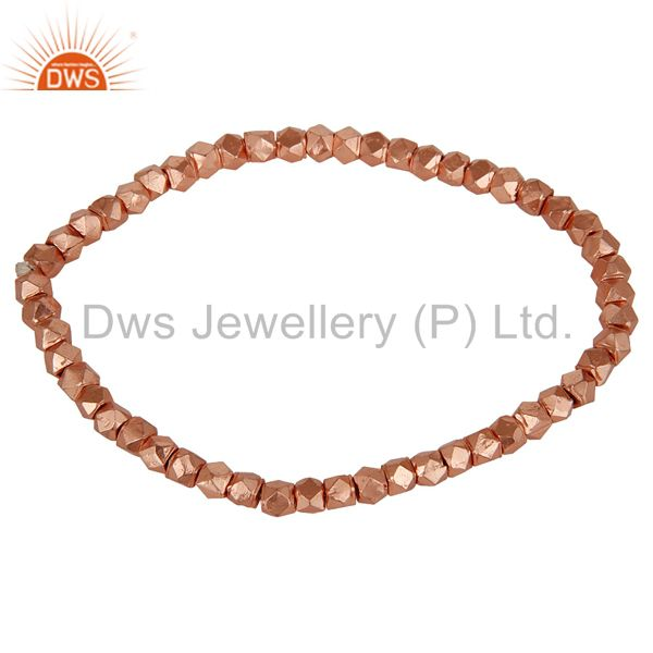 18K Rose Gold Plated Sterling Silver Womens Fashion Nuggets Stretch Bracelet