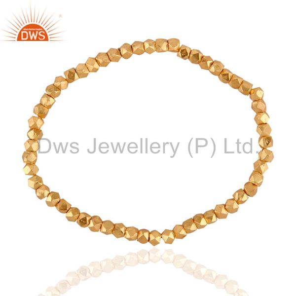 18K Yellow Gold Plated Sterling Silver Beads Stretch Fashion Bracelet