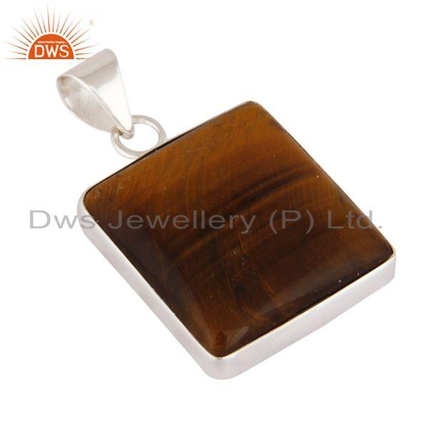 Wholesale Indian Handcrafted Solid 925 Sterling Silver Natural Tiger Eye Gemstone Pendant