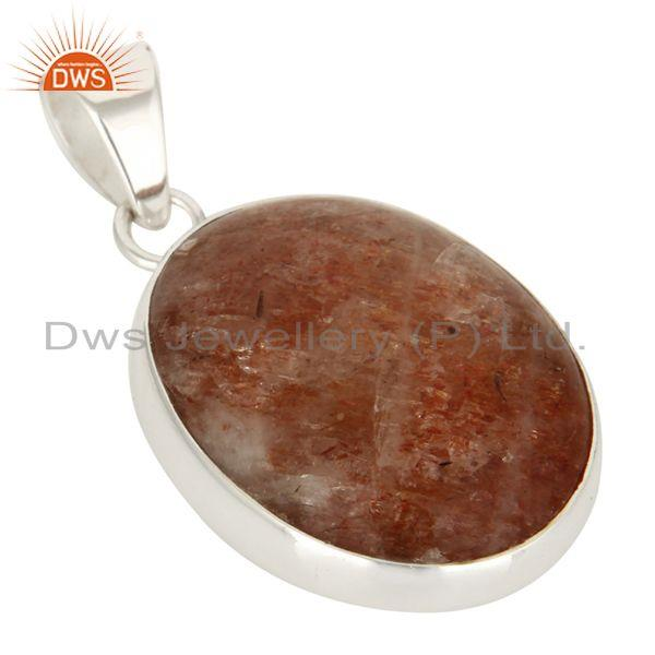 Manufacturer of Handmade Solid Sterling Silver Natural Sunstone Pendant
