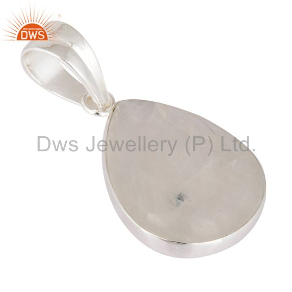Supplier of Handmade Solid 925 Sterling Silver Gemstone Natural Rainbow Moonstone Pendant
