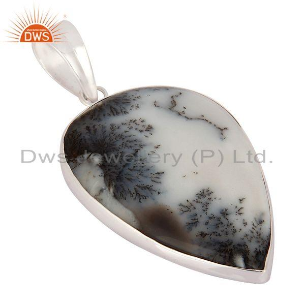 Supplier of Solid 925 Sterling Silver Natural Dendritic Opal Gemstone Handmade Pendant