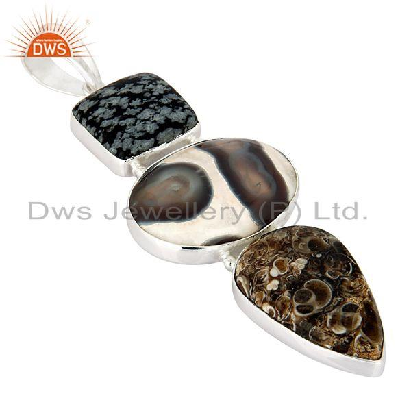 Manufacturer of Snowflake Obsidian, Solar Quartz And Turritella Agate Sterling Silver Pendant