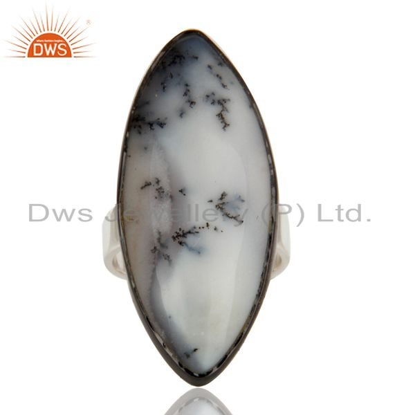 Supplier of Black Oxidized Solid 925 Sterling Silver Dendritic Opal Unique Statement Ring