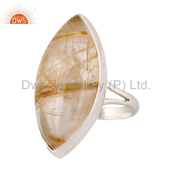 Supplier of 925 Sterling Silver Rutilated Quartz High Quality Cabochon Gemstone Ring