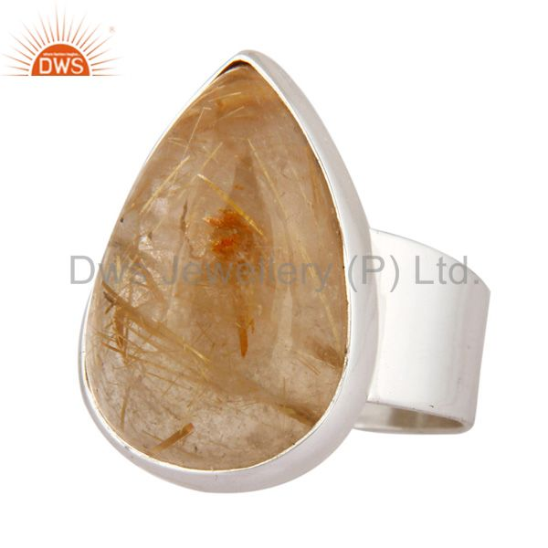 Wholesale Solid 925 Sterling Silver Rutilated Quartz Gemstone Handmade Ring Jewelry