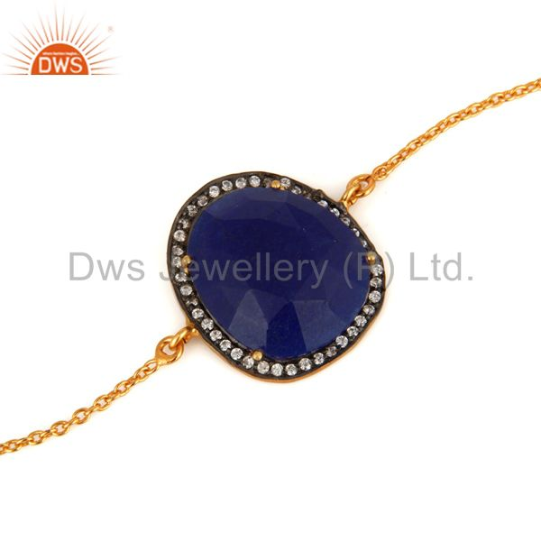 Wholesale 18K Gold Plated 925 Sterling Silver Blue Aventurine Gemstone Bracelet With CZ
