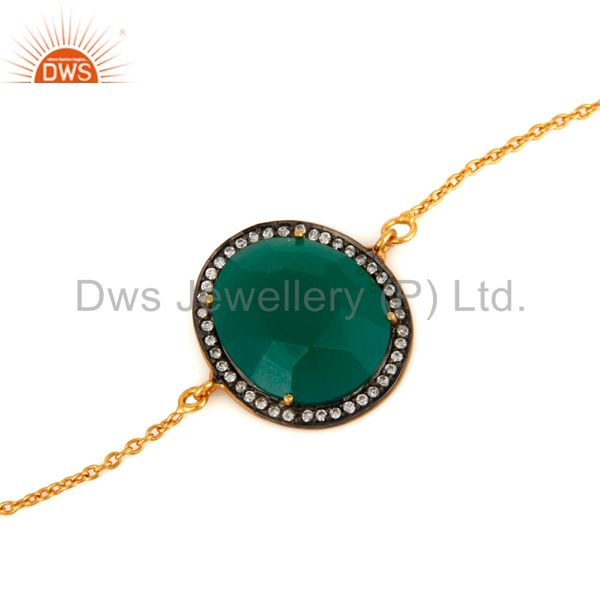 Wholesale 14K Yellow Gold Plated Cubic Zirconia And Green Onyx Fashion Chain Bracelet