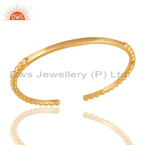 14K Yellow Gold Plated Traditional Handmade Openable Brass Cuff Bangle