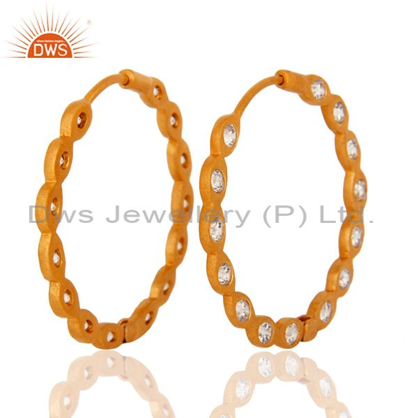 Supplier of Handmade White Cubic Zirconia 18-Kt. Yellow Gold Plated Over Brass Hoop Earring