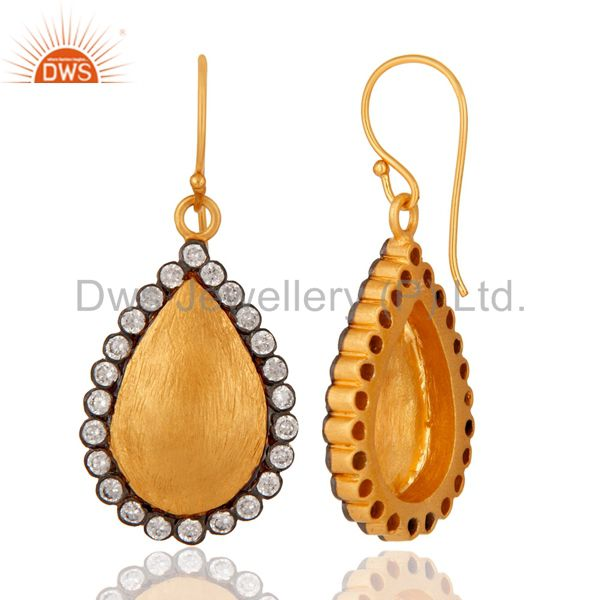 Wholesale Stunning White Color Round Cubic Zirconia CZ 24K Gold Plated Drop Dangle Earring
