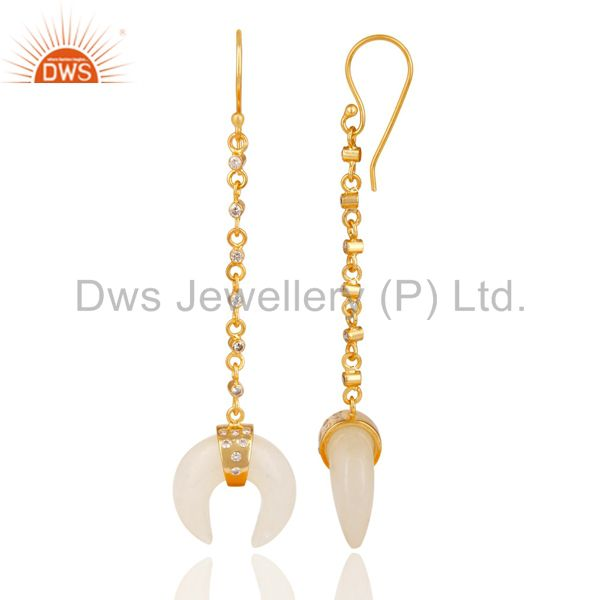 Manufacturer of 14K Yellow Gold Plated Handmade White Agate & White Zirconia Brass Earrings