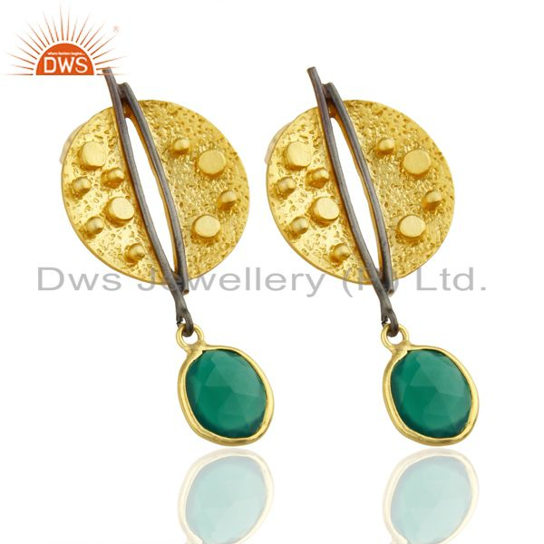 Manufacturer of Gold Plated Texture Designer Boutique Earring Green Onyx Fashion Jewelry