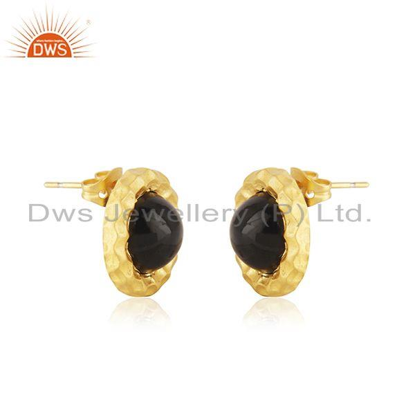 Indian Supplier of Black Onyx Gemstone Gold Plated Brass Fashion Round Stud Earrings