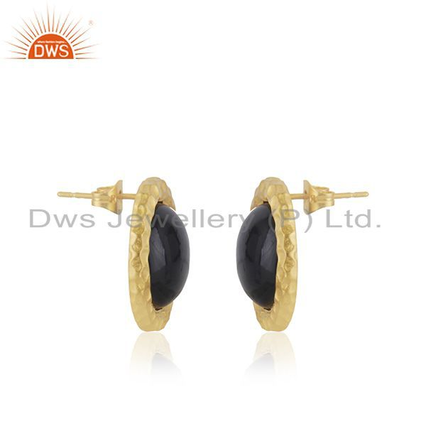 Indian Manufacturer of Black Onyx Gemstone Gold Plated Brass Fashion Stud Earrings for Girls
