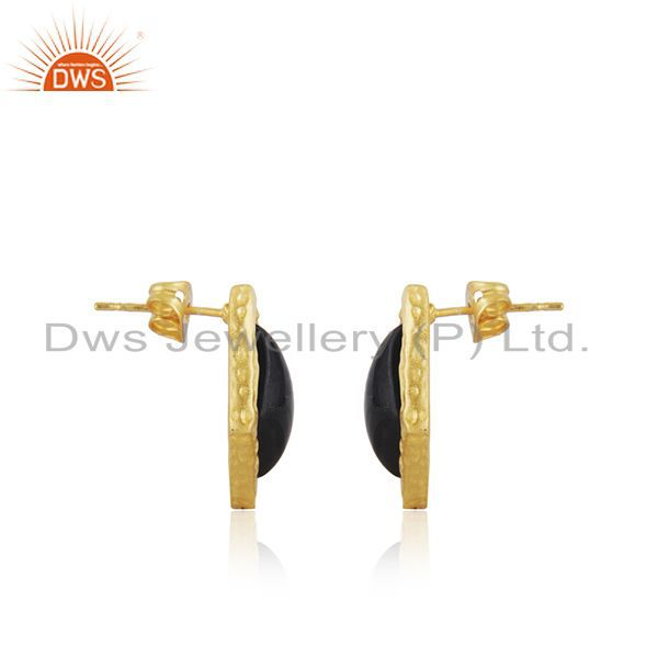 Indian Supplier of Handmade Gold Plated Brass Fashion Black Onyx Gemstone Earrings
