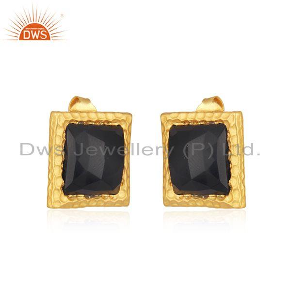 Wholesale Black Onyx Gemstone Gold Plated 925 Silver Square Girls Stud Earrings
