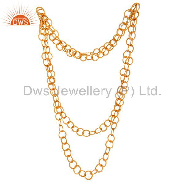 Wholesale Handmade 22K Yellow Gold Vermeil Large Chain Wire Link Designer Necklace