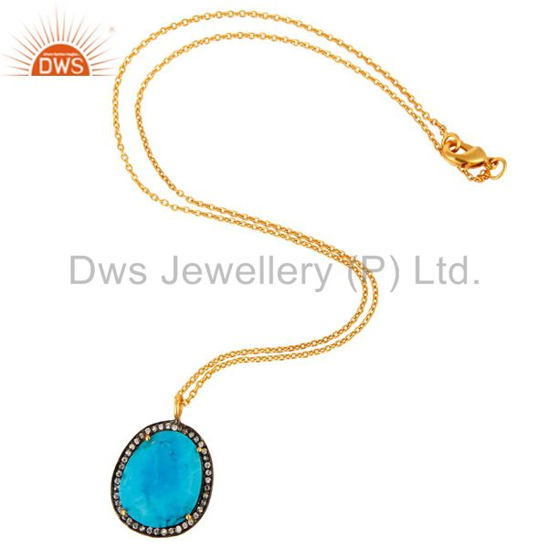 Supplier of Cubic Zirconia & Matrix Turquoise 18K Gold Plated Designer Pendant Necklace