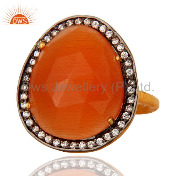 Supplier of 14K Yellow Gold Plated Peach Moonstone Gemstone CZ Accent Designer Ring