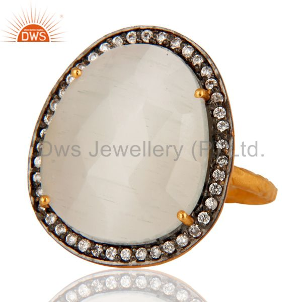 Manufacturer of Designer White Moonstone Ring With CZ in 18kt Gold Over brass jewellery