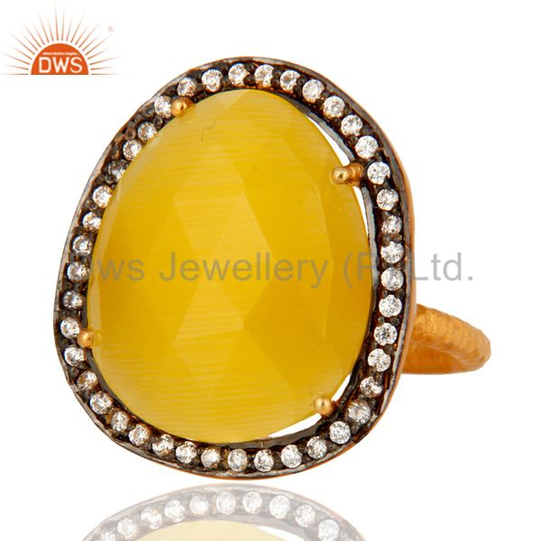 Wholesale 18-Carat Yellow Gold Vermeil Yellow Moonstone Cocktail Ring With White Zircon