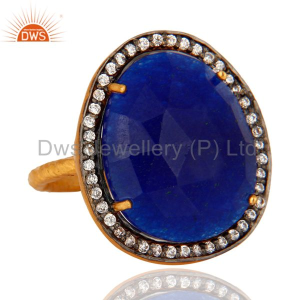 Manufacturer of 14K Yellow Gold Plated over Brass Blue Aventurine Gemstone Ring With CZ Gemstone