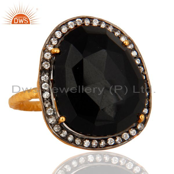 Supplier of 18-Karat Yellow Gold Plated Black Onyx Gemstone Prong Set Designer Ring With CZ