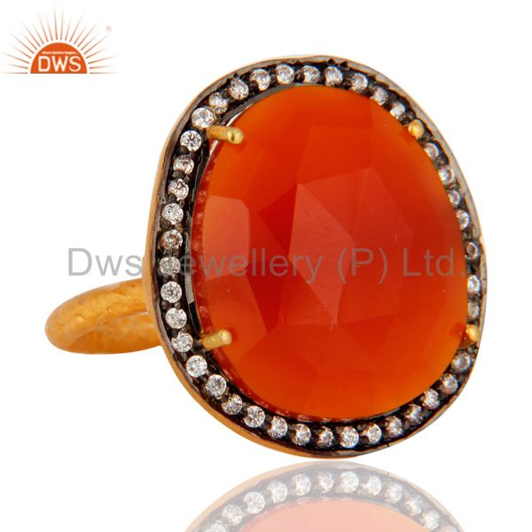 Wholesale Handmade 22K Yellow Gold Vermeil Natural Red Onyx Faceted Gemstone Ring With CZ