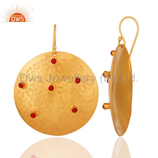 Supplier of Red Coral Dangle 14K Yellow Gold Plated Brass Earrings Fashion Jewelry