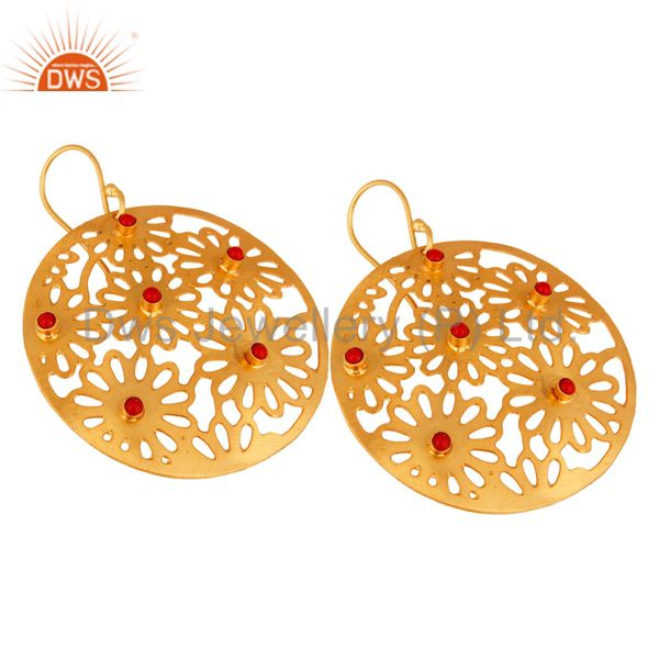 Wholesale Handmade Sterling Silver Filigree 24K Gold Plated Red Coral Designer Earrings