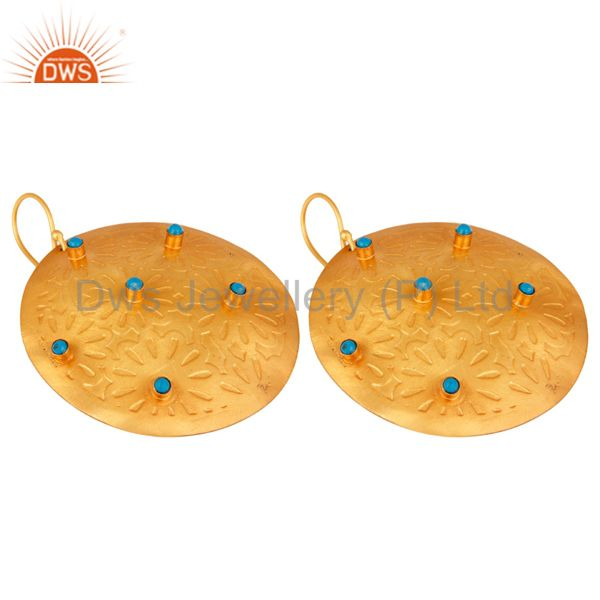 Manufacturer of Turquoise Cultured Dangle 14K Yellow Gold Plated Brass Earrings Handmade Jewelry