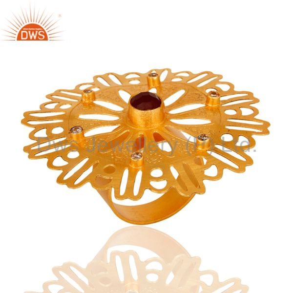 Wholesale Aventurine Gemstone & CZ 18K Yellow Gold Plated Circle Filigree Fashion Ring